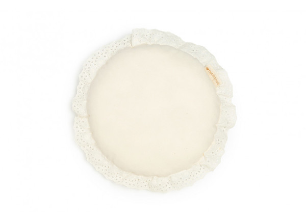 Coussin rond Vera Eyelet Lace • natural
